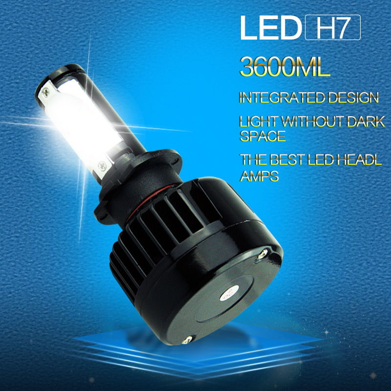 All in one H7 Car LED Headlight LED CREE Headlamp 36w 3600lm 6000k white 9-36v Car Extermal Light(China (Mainland))
