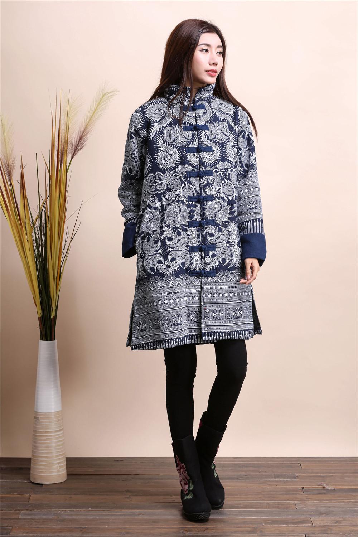 2015 Winter chinese style retro frog women windbreaker cotton linen flocking cotton-padded jacket dust trench coat