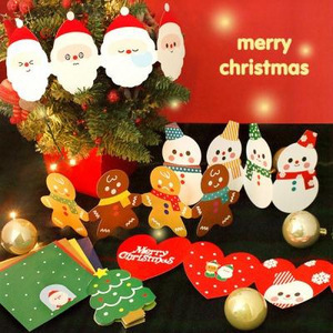 cute special design folding Merry Christmas cards and envelope and sticker set(China (Mainland))