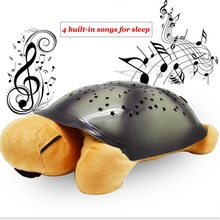 Turtle Night Light with 4 Musics Stars Projector for Children Gift Comfortable Lighting Baby Bedroom Decoration(China (Mainland))