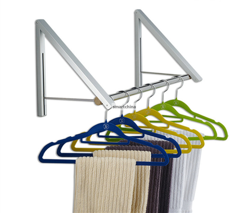 One Set New Style Space Aluminum Folding Retractable Balcony Shower Room Racks Wall Clothes Hanger Rack(China (Mainland))