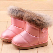 2016 EU21-30 Winter Warm Wool Cloth With Soft Nap Of Rabbit Hair Fur Rubber Soles Children Snow Boots Kids Shoes For Girls Boots(China (Mainland))