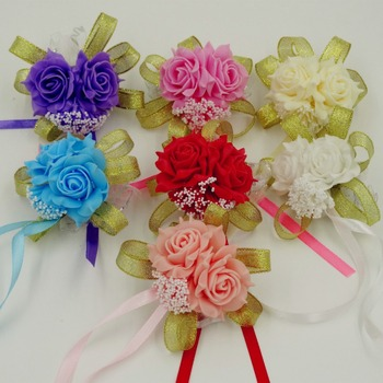 Fashion White purple pink Handmade Brides Bridesmaid Flower Wedding Bouquet Hand Flowers Wrist Corsages