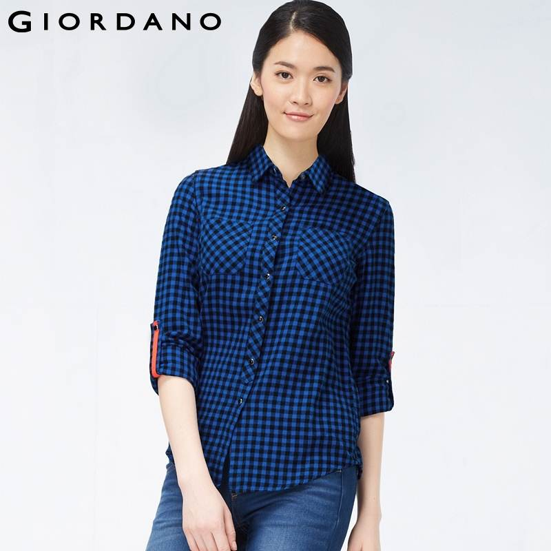 Giordano women brand plaid flannel roll up sleeves blouse for How to roll up sleeves on women s dress shirt