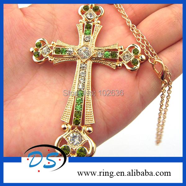 Statement Necklace Fashion Gorgeous Crystal Christ Jesus Cross Pendant Necklace Gold Tone 12pcs/lot Free Shipping(China (Mainland))