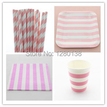 Disposable 5 Color Wedding Supplies Stripe Paper Plates, Paper Cups, Party Tableware Set Striped Paper Napkins, Paper Straws(China (Mainland))