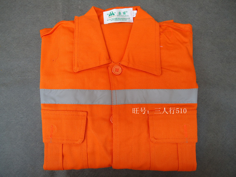 Retardant overalls welders clothing petrochemical clothes split orange fire protective clothing with reflective tape(China (Mainland))
