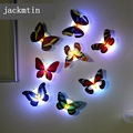 10Pcs Beautiful Butterfly Night Light Lamp with Suction Pad Multicolor Send in Random