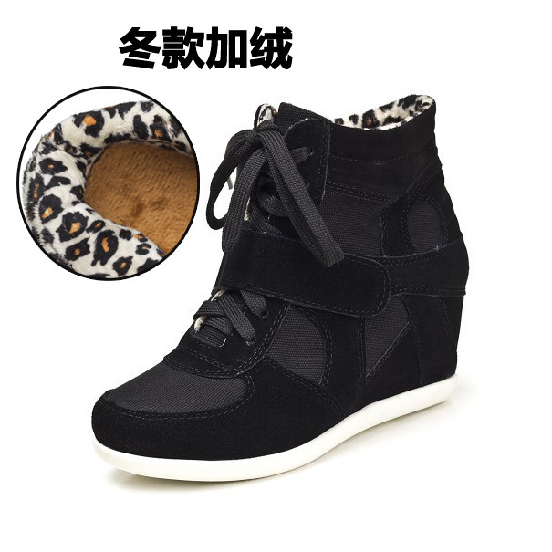 2014 Free Shipping New High Top Women's Velcro Lace UP Wedge Hidden Heels Sneakers Shoes add cotton winter models(China (Mainland))