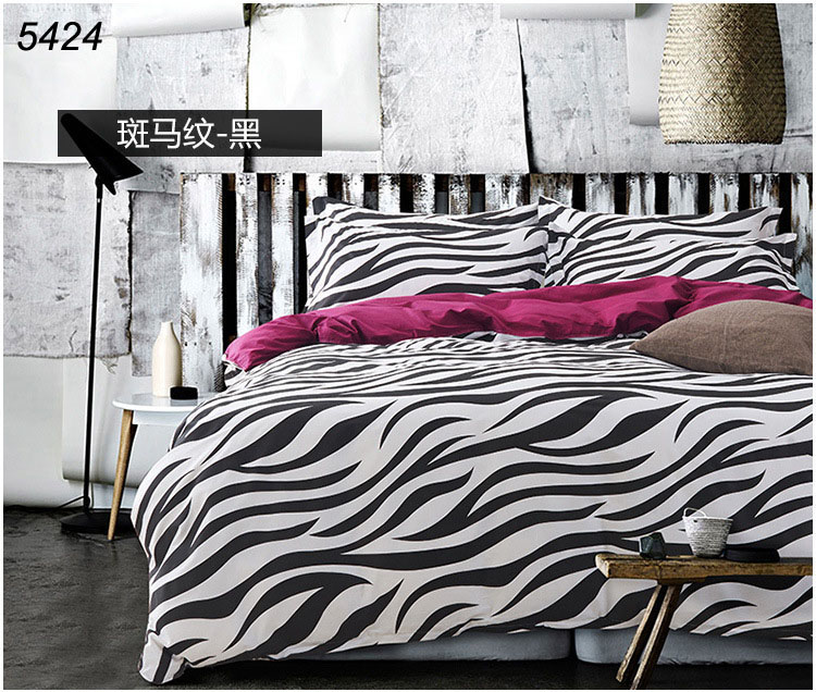 New arrival fashion black and white zebra bedding-set 100% cotton twill fabric 40s bed clothes 4pcs bedding set 5424(China (Mainland))
