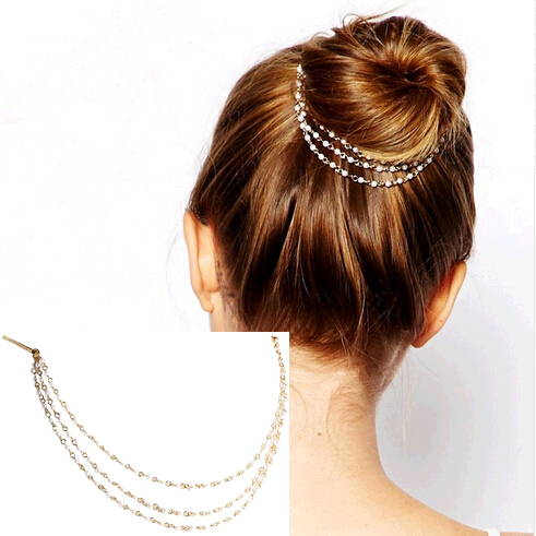 Women Punk Hair Cuff Pin Clip 2 Combs Tassels Simulated Pearl Chains Head Band Fashion Party Wedding Accessories Hair Jewelry(China (Mainland))