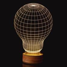 Free Shipping 1Piece Novelty 3D Wood Mood Lamp Bulbing Light Bulb Micro USB Table Lamp Night Light(China (Mainland))