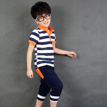 2015 NEW children boy clothing set  Sport Casual Stripe boys set baby short t shirt+pants 2 pcs set clothes kids suit 3-10Years (China (Mainland))