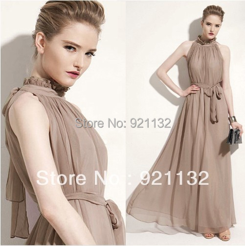 Free Shipping!!! Noble Ruffles Stand Collar Halter Neck Sleeveless Belted Large Lap Maxi Party Dress Khaki/Green/Pink/Red