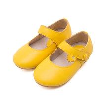אביב 2019 תינוק פעוט ילדה רטרו מרי ג 'יין דירות קטן ילד מיקרופייבר עור ופרס ילדים צהוב שחור בז' נעלי הליכה(China)