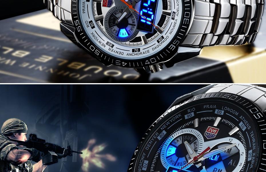TVG 2016  Military Sports Watches Mens Quartz Analog LED watch wrist stainless steel Dual display Clock Men Army Wristwatch