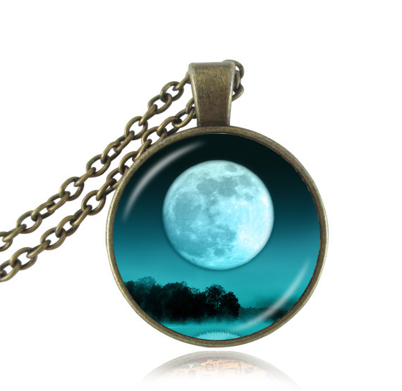Full moon pendant vintage statement necklace 2016 tree jewelry glass cabochon pendants necklaces women jeweller silver chain(China (Mainland))