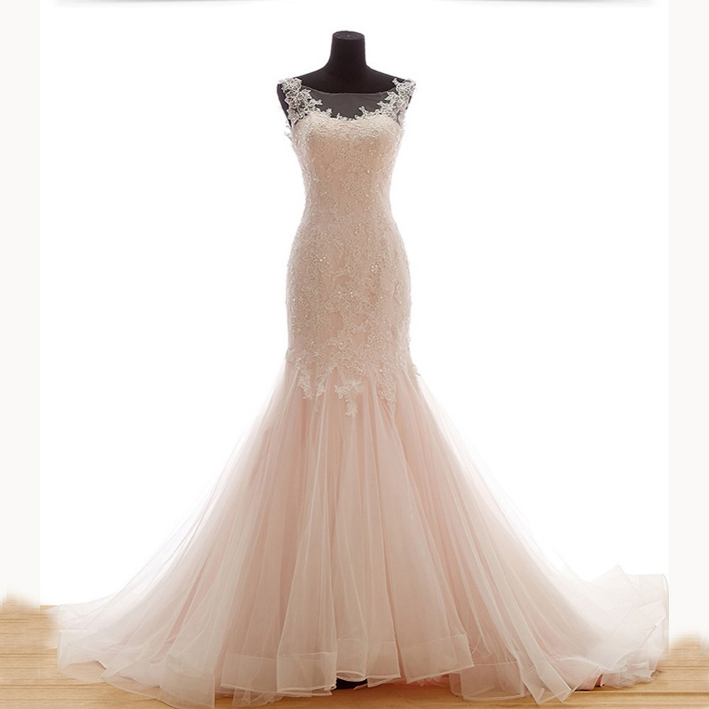 Light pink mermaid wedding dresses with beading 2015 lace for Beading for wedding dress