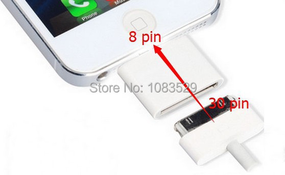 Dock Connector Charger Adapters iphone 5 adapter 8 30 pin iPhone 4 Converter white package Stock - HK Billy Technology Co.,Ltd store