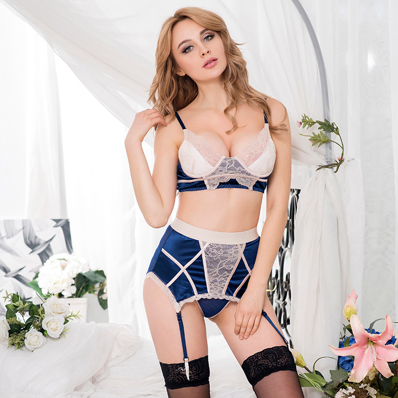 RA80186 Sexy Navy Bra Set With Beige Lace Overlay Langerie Sexy 2016 Brand New Women's Exotic Apparel Women Lingerie