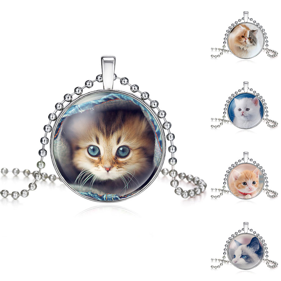 High Quality Handmade Silver Plated Small Cat Kids Glass Necklace For Women Wholesale Lovely Long Necklace Cat Jewelry Gift(China (Mainland))