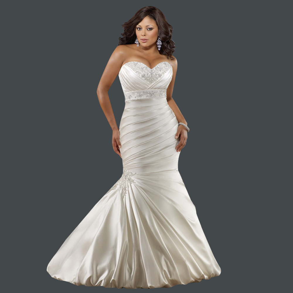 French style sweetheart embroidery lace up satin plus size for Satin sweetheart mermaid wedding dress