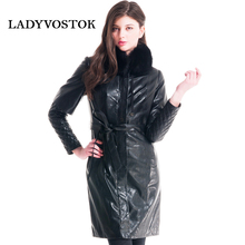 Women's leather jacket with fox fur. The fitted silhouette. Full-length sleeve. Lining puh.Poyas natural waist.(China (Mainland))