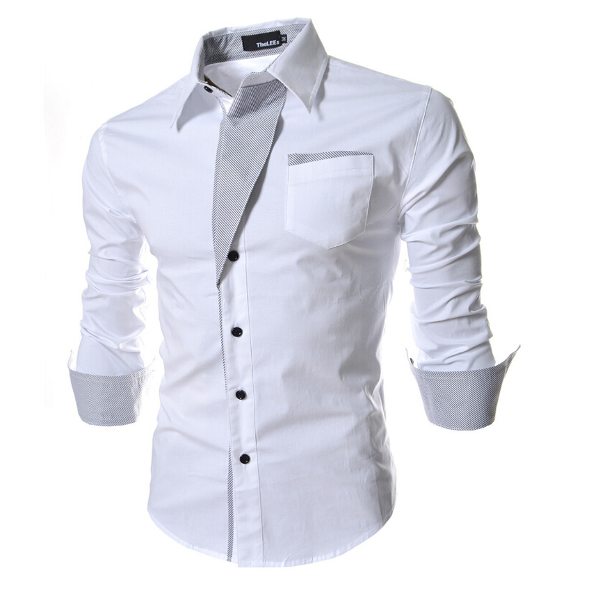 new 2015 fashion men dress shirts high quality long sleeve