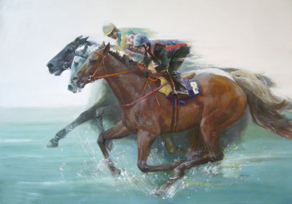 Free shipping high quality hand-painted oil painting on canvas mounted horse racing(China (Mainland))