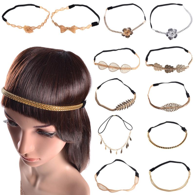 1 piece Silver Gold Plated Alloy Floral Leaf Elastic HeadBand Women Girl Wedding Party Hair Band Headwear(China (Mainland))