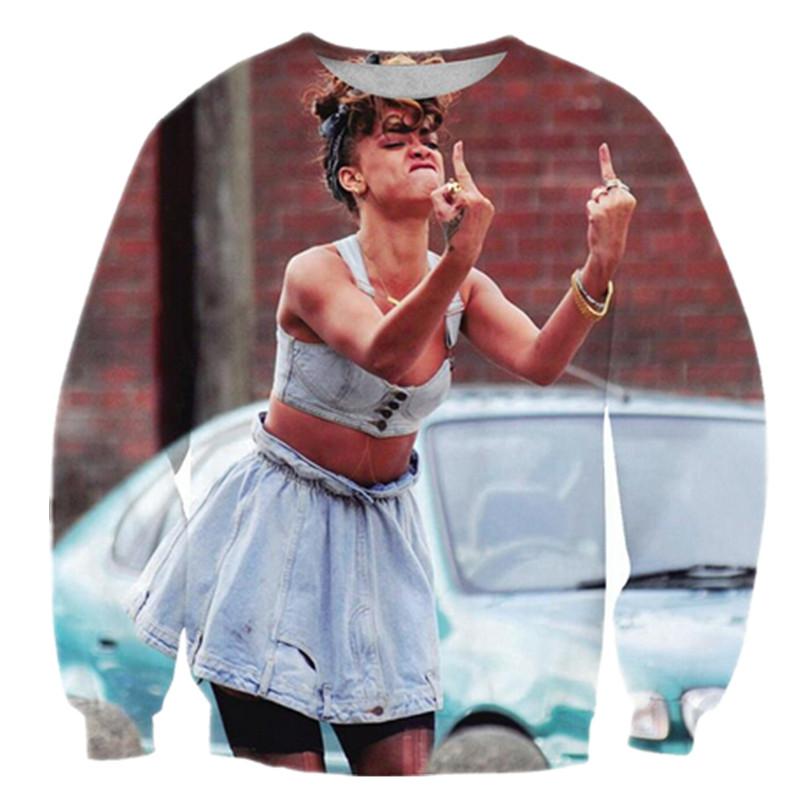 2016 Super Star Rihanna Smoking/Rose Finger Print Sweatshirt Pullover ...