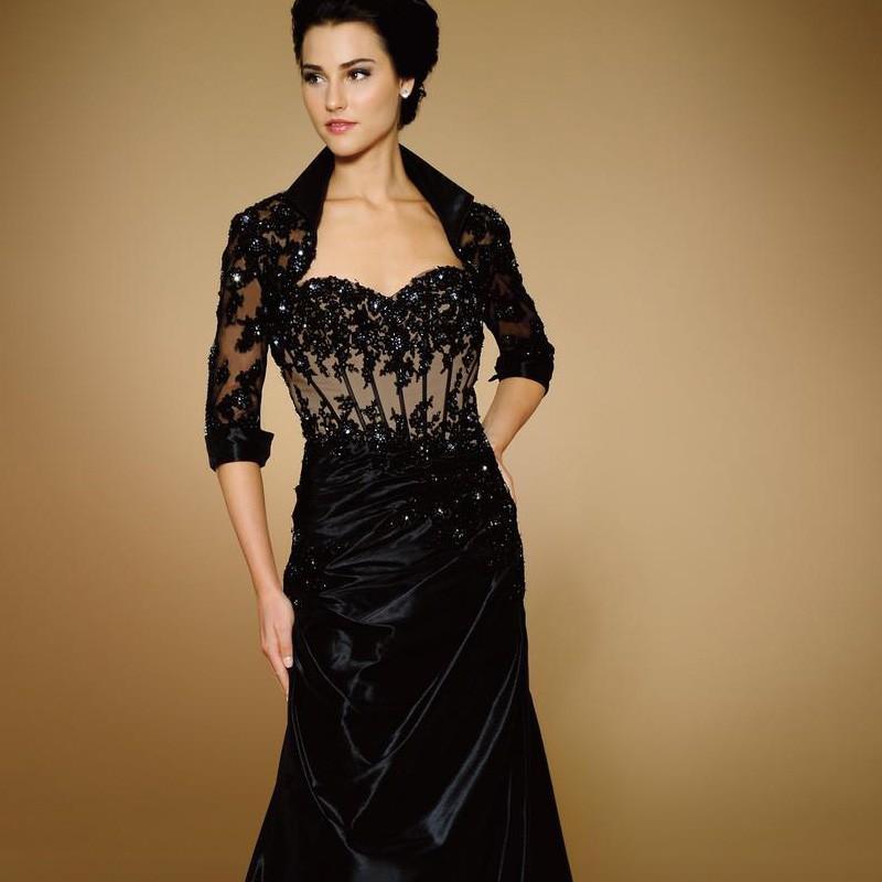 2016-Sheath-Black-Black-Taffeta-Mother-Of-The-Bridal-Dresses-Mother-Groom-Custom-Made-Evening-Gowns (2)