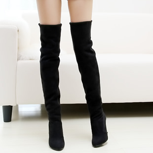 Over The Knee Stretch Suede Boots - Cr Boot