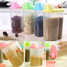 Dried Food Cereal Flour Pasta Food Storage Dispenser Rice Container Sealed Box 1.9L Free shipping-Y102(China (Mainland))