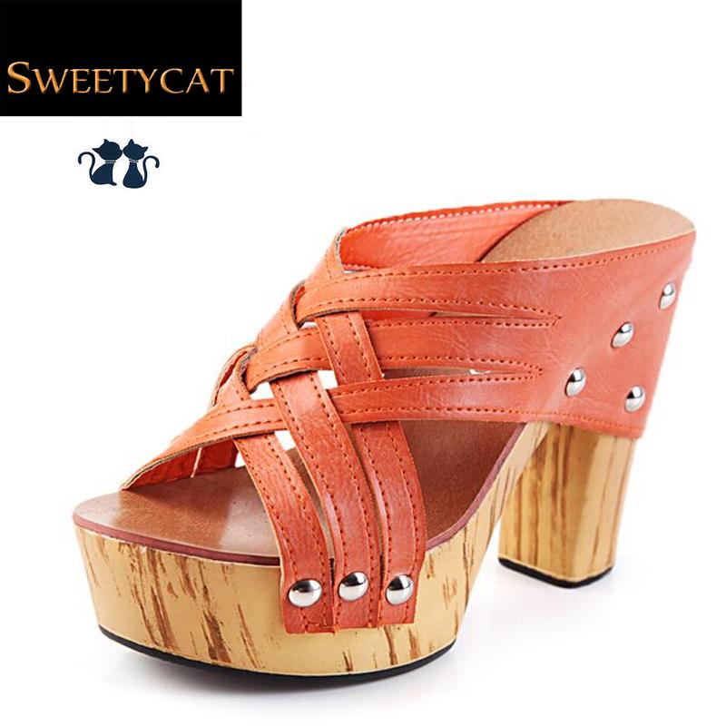 2015 new summer elegant thick heel women shoes platform sandals female shoes high heel sandals sexy platform Slippers(China (Mainland))