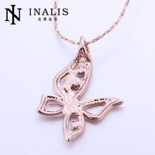N509 New Women Necklace Rhinestone Butterfly 18K Gold Plated Austrian Crystal Pendant Necklace Jewlery Vintage Statement