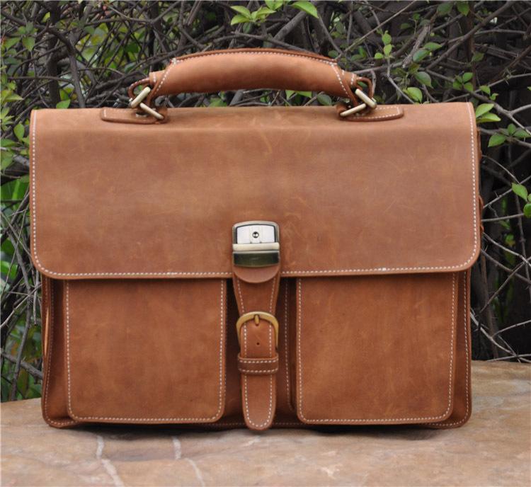 """Brown Genuine leather men bag big Handbag Cowhide business Briefcase 16 """" Laptop bag Crazy horse leather Shoulder Messenger Bag(China (Mainland))"""