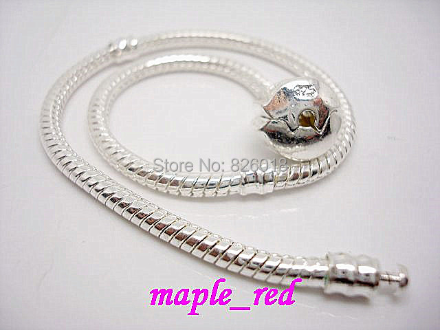 1Fashion European Style Bracelets, Silver Plated Snake Chain 925 Stamped Bracelets Fit Charms Beads 16-24 cm size - maple_red store