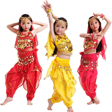 Girls Kids Belly Dance Costume Top Pants Bollywood Indian Dancing Outfit Children's Performance Stage Wear - Moon Store store
