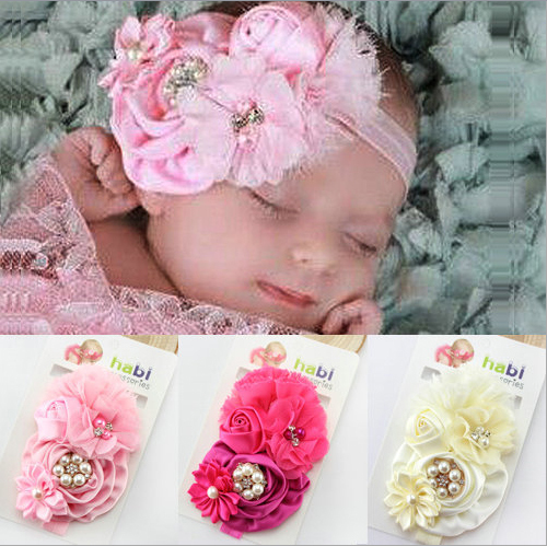 Retail Fashion Infant Toddler Baby Headbands girl flower with rhinestone head band kids hair accessories(China (Mainland))