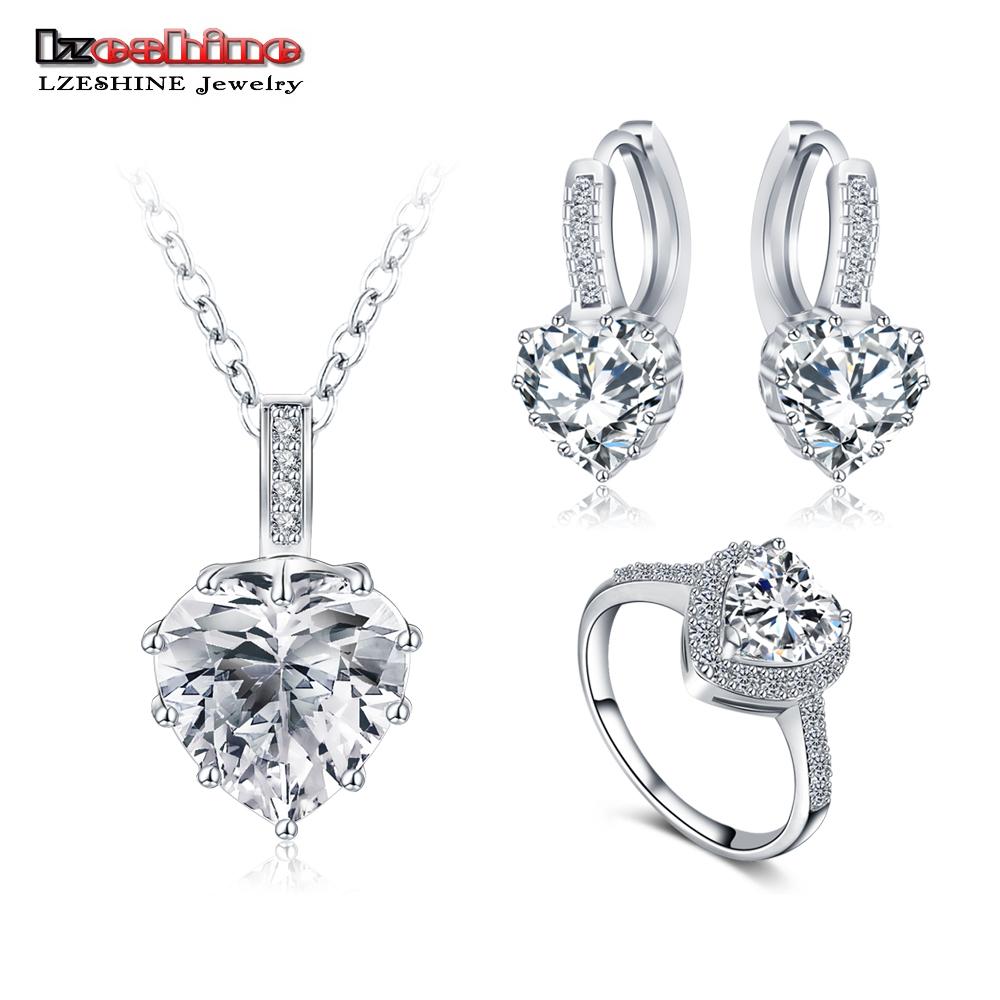 LZESHINE New Fine 2016 Women Romantic Heart Shape AAA Zircon Wedding Jewelry Earring/Necklace/Ring Bridal Jewelry Set CST0033(China (Mainland))