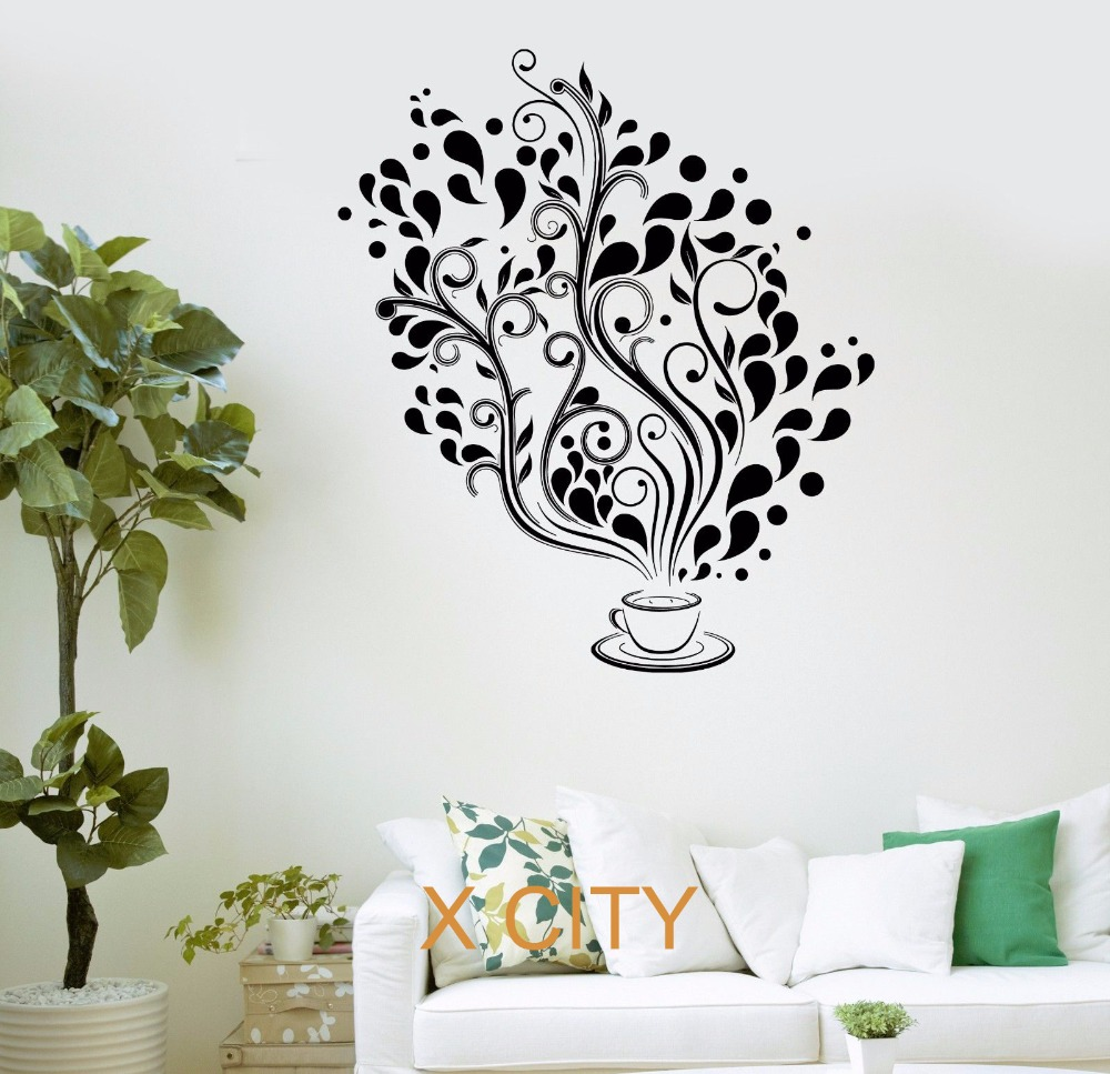 Coffee Cafe Fancy Tree Kitchen Bar Restaurant Office Wall Art Decal Sticker Removable Vinyl Transfer Stencil Mural Room Decor(China (Mainland))