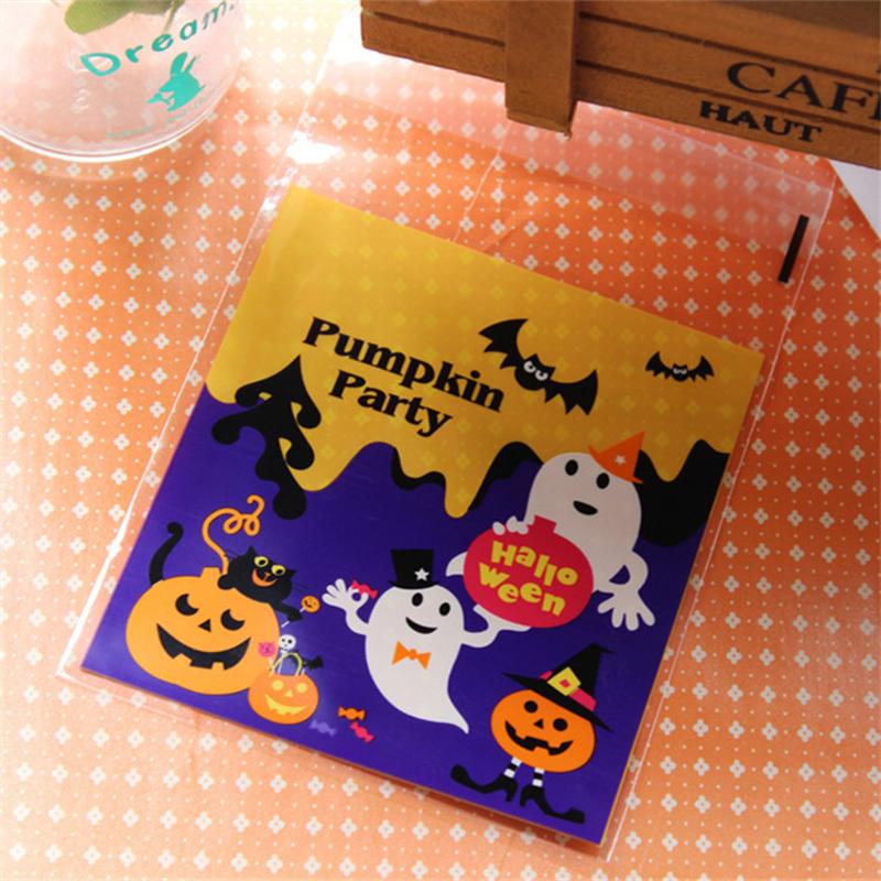 Pumpkin Ghost Halloween Party plastic bags 10x11cm self sealing bags cookie bags Biscuit food Packaging bags(China (Mainland))