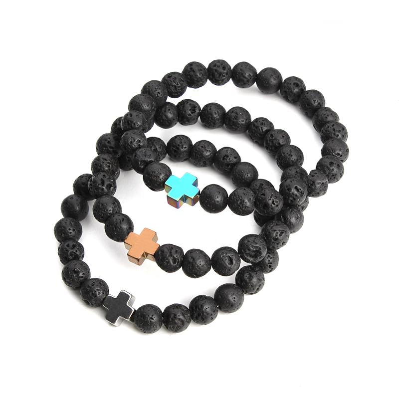 2016 New Natural Black Lava Stone Beads Bracelet Fashion Men Hematite Beaded Cross Charm Bracelets Yoga Jewelry Wholesale F3761(China (Mainland))