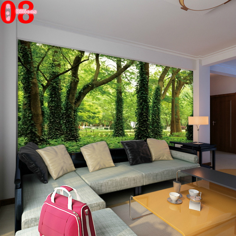 Large tv background wall paper bedroom sofa mural for Nature room wallpaper