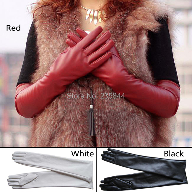 Womens Lambskin Leather Opera Long gloves BLACK Warm Lined H6516 P - All Dresses store