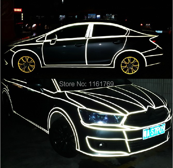 46M/Roll 1.5CM Super reflective strip 3M car be light garland luminous stickers body decoration full reflectors Free shipping(China (Mainland))