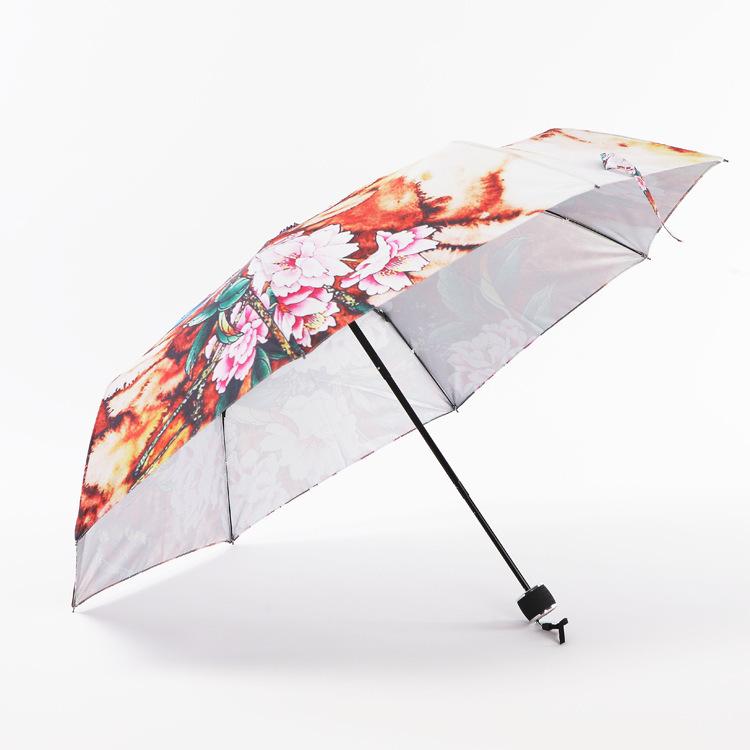 Ethnic Chinese dream peony flower and bird designs folded umbrella silver plastic coating super sun umbrella rain stock(China (Mainland))