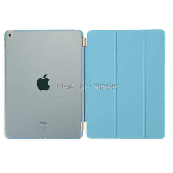Protect Shell For Apple iPad Air 2 Smart Cover Case Original Imitate Leather Front Cover Matte Back Case for ipad 6(China (Mainland))