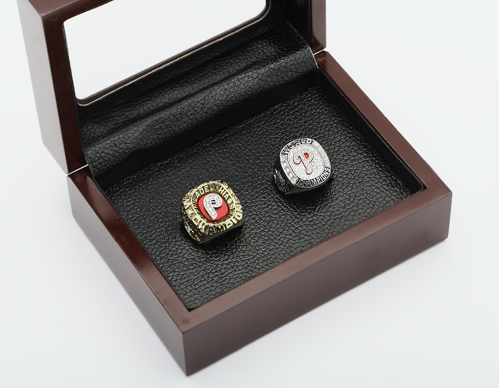 One set (2PCS) MLB 1980 And 2008 PHILADELPHIA PHILLIES WORLD SERIES Championship Rings With Wooden Box Size 10-13<br><br>Aliexpress